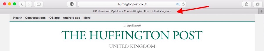 Huffington Post Browser Tab Page Title Example