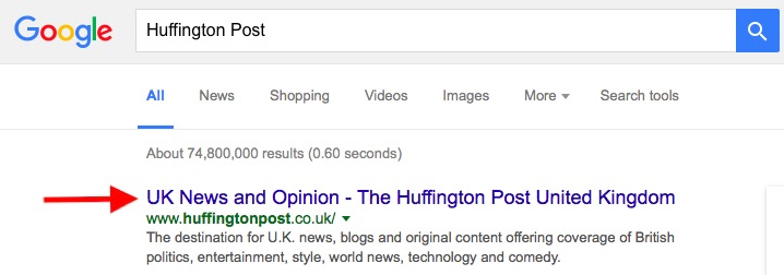 Huffington Post Google Search Page Title Example