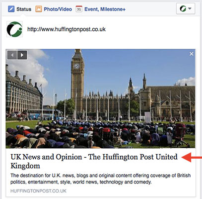 Huffington Post Social Media Page Title Example